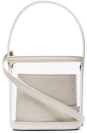 cream Bisset medium leather trim PVC bucket bag