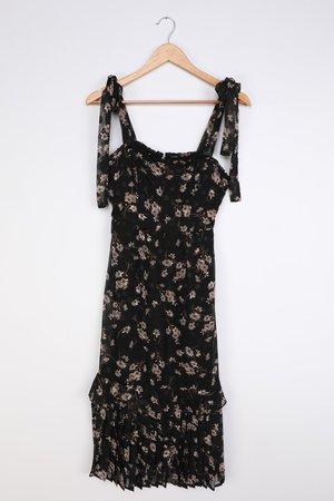 Black Floral Dress - Chiffon Midi Dress - Ruffled Midi Dress - Lulus