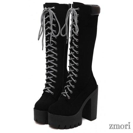 Black Knee High Chunky Platform Heel Combat Boots