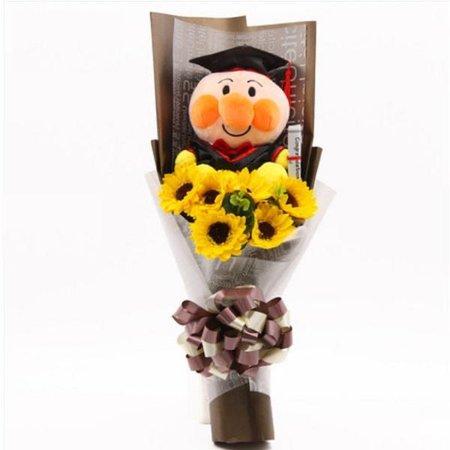 GRADUATION FLOWER BOUQUET WITH ANPANMAN PLUSH TOY