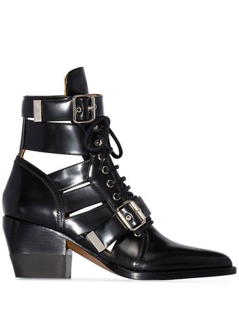 Chloé Black Reilly 60 Buckle Embellished Ankle Boots | Farfetch.com