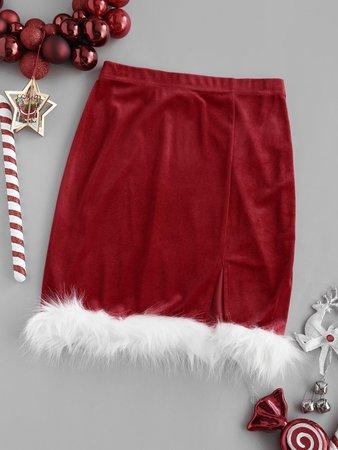 [24% OFF] 2020 Christmas Faux Fur Insert Velvet Slit Skirt In RED   ZAFUL
