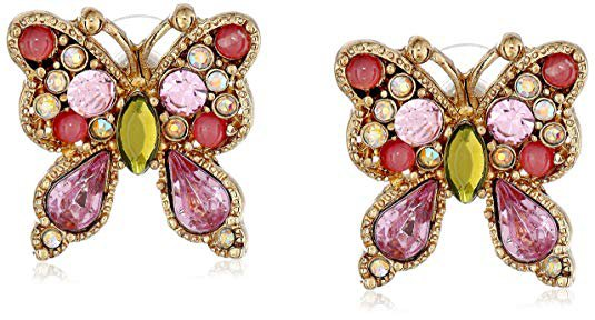 """Betsey Johnson """"Spring Glam"""" Butterfly Stud Earrings: Clothing"""