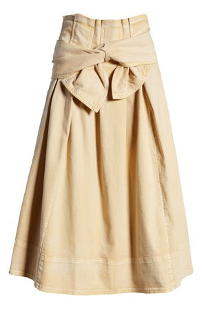 Ulla Johnson Virgil Tie Waist Midi Skirt | Nordstrom