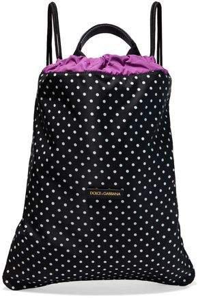 Leather-trimmed Polka-dot Shell Backpack