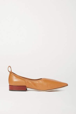 Leather Ballet Flats - Tan
