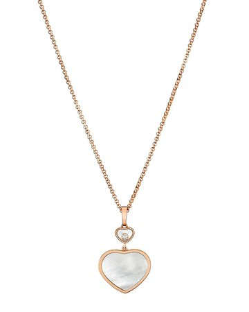 """Chopard 44"""" Happy Hearts 18k Mother-of-Pearl & Diamond Long Pendant Necklace"""