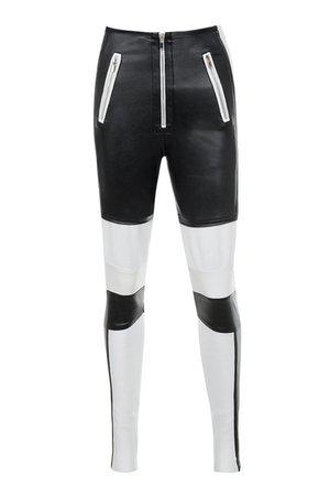 'Philosophy' Black Bandage + Vegan Leather Biker Pants - Mistress Rocks
