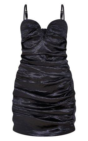 Black Satin Strappy V Bar Ruched Bodycon Dress | PrettyLittleThing USA