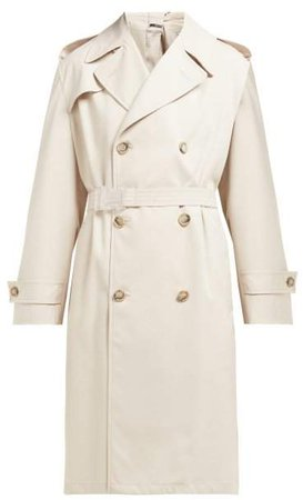 Double Breasted Twill Trench Coat - Womens - Beige