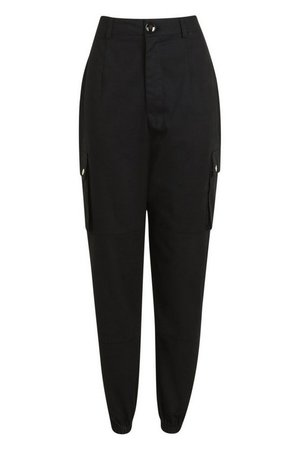 High Waist Woven Pocket Cargo Pants | boohoo