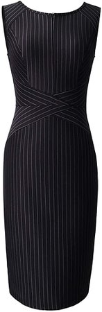 VFSHOW Womens Elegant Black and White Striped Cocktail Party Slim Zipper up Work Business Office Sheath Dress 2619 BLK XXL at Amazon Women's Clothing store
