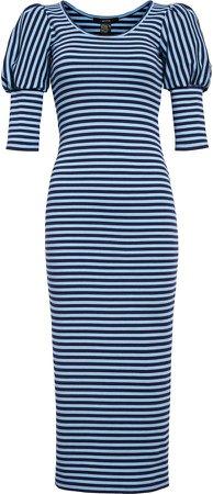 Juliet Stripe Puff Sleeve Midi Dress