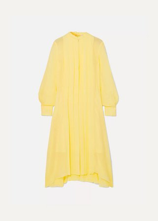 Pleated Silk-chiffon Dress - Yellow