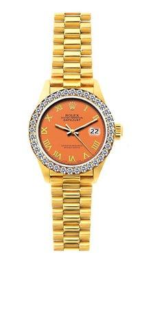18K YELLOW GOLD ROLEX DATEJUST DIAMOND WATCH, 26MM, PRESIDENT BRACELET ORANGE DIAL W/ DIAMOND BEZEL