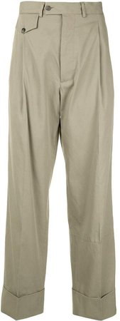 straight-leg front button pocket trousers