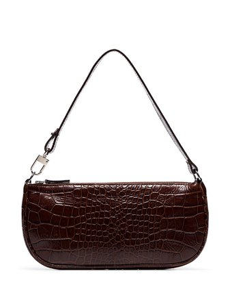 Brown BY FAR crocodile-embossed shoulder bag 18FWRCLSNEDMED - Farfetch