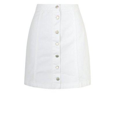 New Look Tall White Button Front Denim Mini Skirt