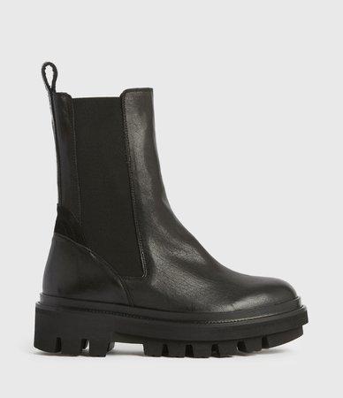 ALLSAINTS US: Womens Billie Leather Boots (black)