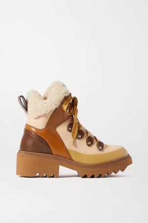Brown Shearling and rubber-trimmed leather ankle boots | Chloé | NET-A-PORTER