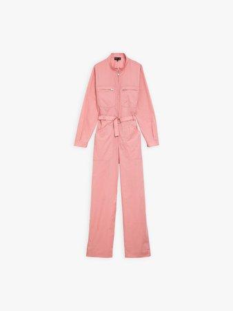 pink cotton percale jumpsuit