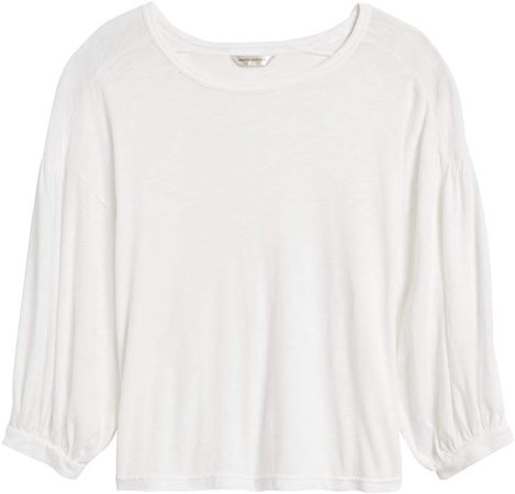 Petite Balloon-Sleeve Cropped Top