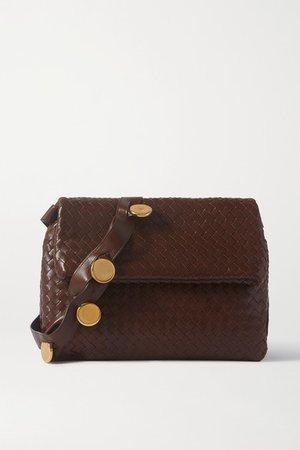 Embellished Intrecciato Leather Shoulder Bag - Dark brown