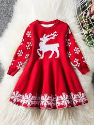 girls Christmas dress with  deer