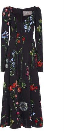 Lela Rose Floral Open-Neck Midi Dress