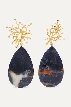 Gold + Pach Tach gold-plated sodalite earrings | Pacharee | NET-A-PORTER
