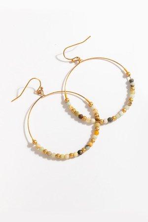 Elise Stone Circle Drop Earrings | francesca's