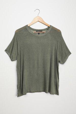 Olive Green T-Shirt - Oversized Tee - Raglan Sleeve T-Shirt