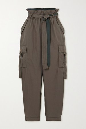 Willett Belted Cotton Tapered Pants - Army green