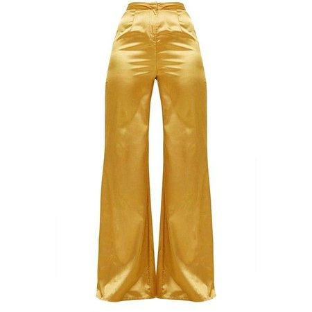 Mustard Satin Wide Leg Trousers