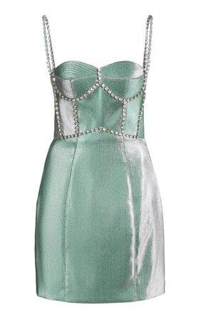 area mint twill crystal dress