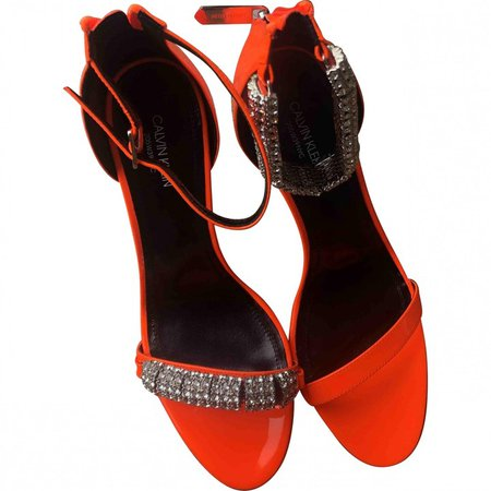 Orange Patent leather Sandals
