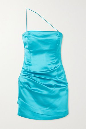 Turquoise Pasto one-shoulder neon satin mini dress | GAUGE81 | NET-A-PORTER