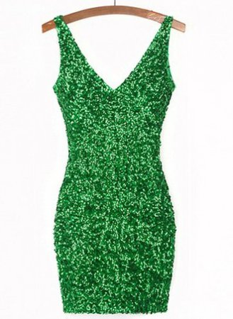 Sexy V-Neck Solid Color Sequined Bodycon Dress For Women