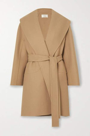 Maddy Belted Wool-blend Coat - Beige