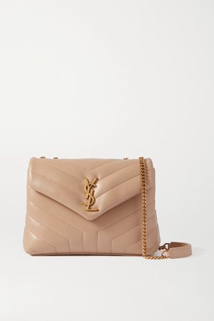 Loulou Small Quilted Leather Shoulder Bag - Beige