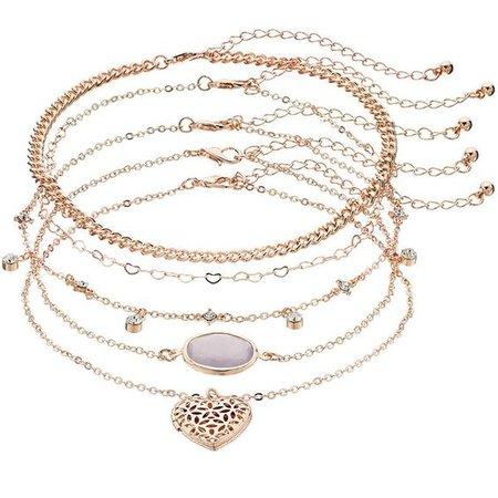Mudd® Purple Oval & Heart Locket Choker Necklace Set