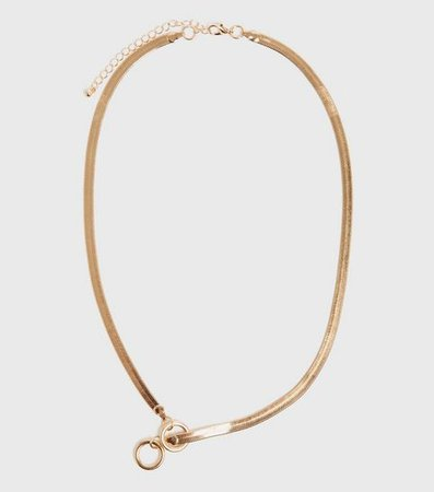 Gold Double Circle Lariat Necklace   New Look