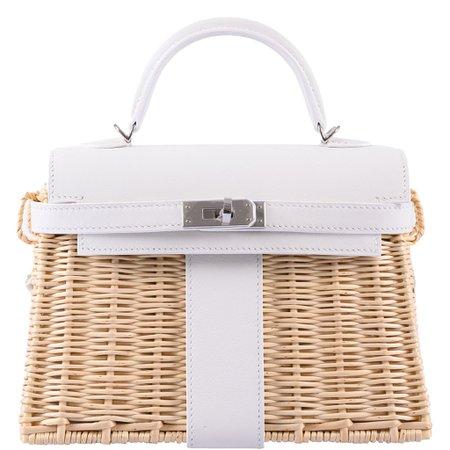 Hermes Kelly 20 Mini Picnic White, Swift & Osier Wicker Palladium Hard – JaneFinds