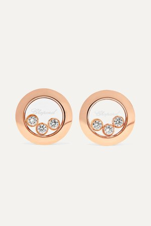 Rose gold Happy Diamonds 18-karat rose gold diamond earrings | Chopard | NET-A-PORTER