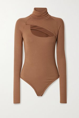Light brown Carder cutout ribbed stretch-modal jersey thong bodysuit | Alix NYC | NET-A-PORTER