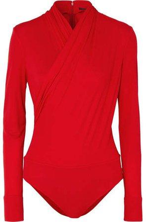 Wrap-effect Crepe Bodysuit - Red