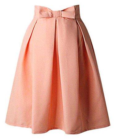 Hanlolo Womens 50s Vintage Skirt Knee Length High Waist Pleated Midi Bow Skirts at Amazon Women's Clothing store: