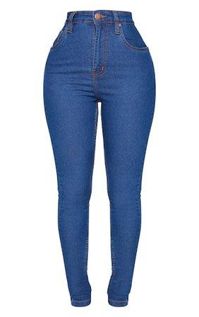 Shape Mid Blue Wash High Waist Skinny Jeans | PrettyLittleThing USA