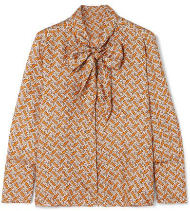 Pussy-bow Printed Mulberry Silk-twill Blouse - Orange