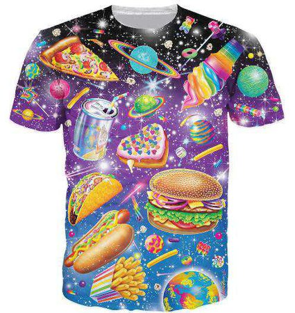 Greasy Junk Food Graphic Tee Plus Size T-Shirts Rainbow | Kawaii Babe